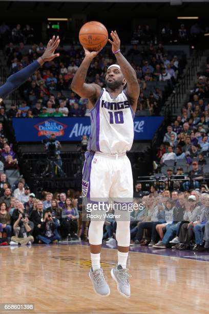 Ty Lawson of the Sacramento Kings shoots the ball during a game against the Memphis Grizzlies on March 27 2017 at Golden 1 Center in Sacramento...