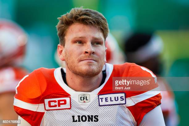 Ty Long of the BC Lions on the sideline during the game between the BC Lions and the Saskatchewan Roughriders at Mosaic Stadium on August 13 2017 in...