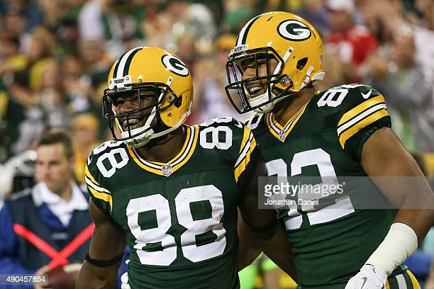 Ty Montgomery and Richard Rodgers of the Green Bay Packers celebrate after Montgomery scored a touchdown against the Kansas City Chiefs in the first...
