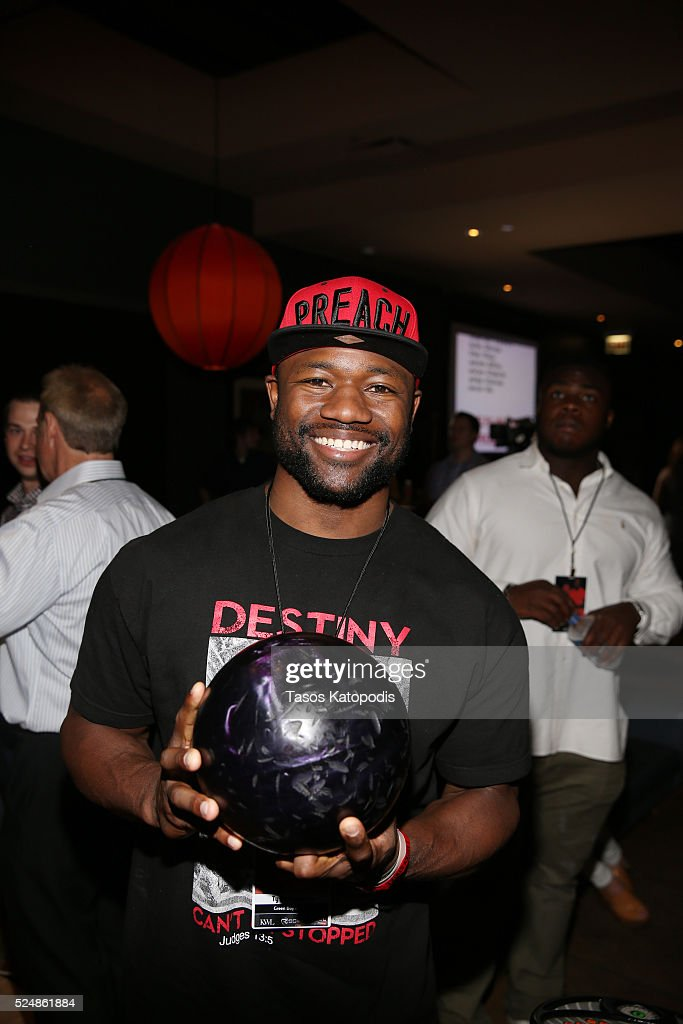 Ty Montgomery of the Green Bay Packers at the Celebrity Bowling Classic at Lucky Strike Chicago during NFL Draft Week 2016 on April 26, 2016 in Chicago, Illinois.
