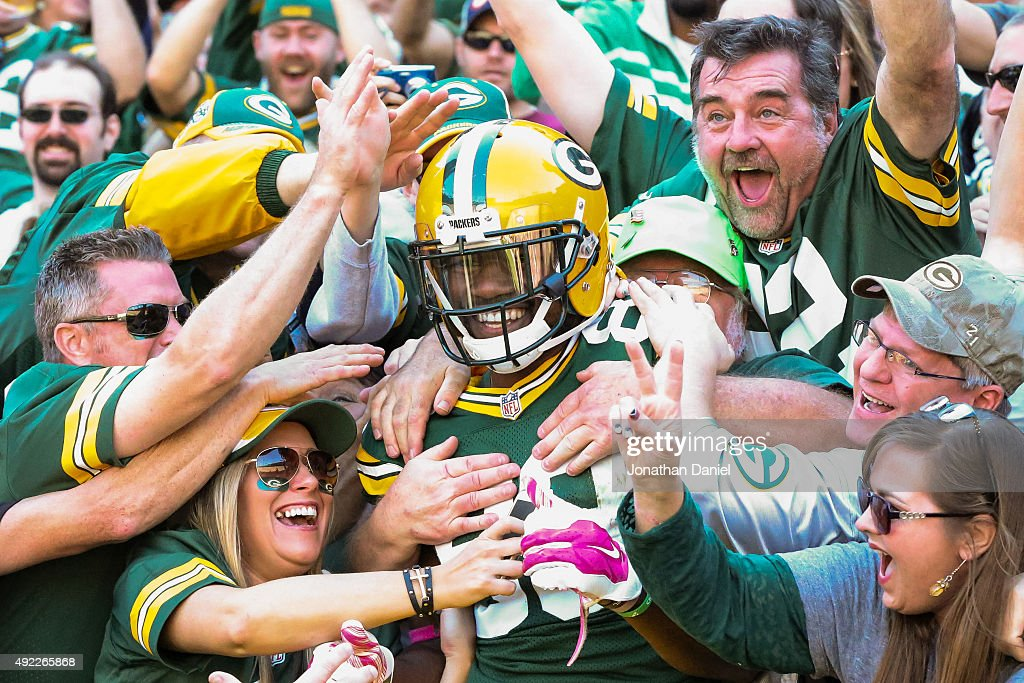 Ty Montgomery #88 of the Green Bay Packers does the 'Lambeau Leap' after running in a 31 yard touchdown against the St. Louis Rams in the first quarter at Lambeau Field on October 11, 2015 in Green Bay, Wisconsin.