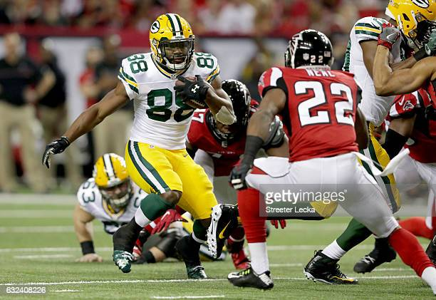 Ty Montgomery of the Green Bay Packers runs in the first half against Keanu Neal of the Atlanta Falcons in the NFC Championship Game at the Georgia...