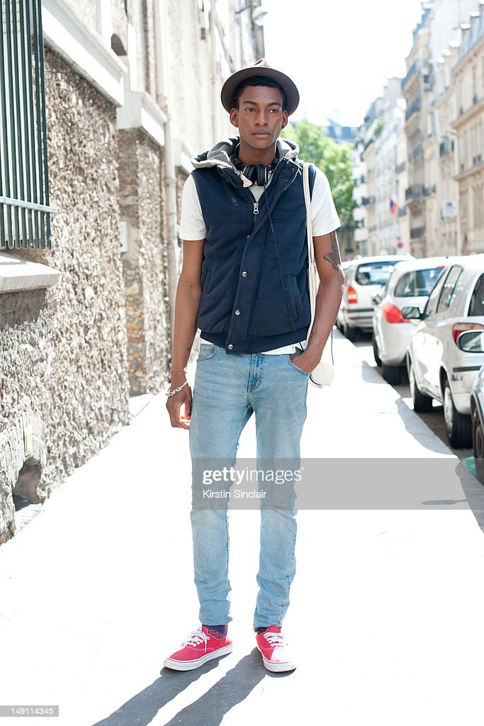 Ty Ogunkoya, male model at Paris Fashion Week Spring/Summer 2013 menswear shows on July 01, 2012 in Paris, France..