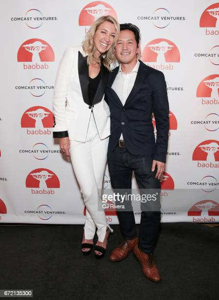 Ty Stiklorius and Kane Lee attend the 2017 Tribeca Film Festival 'Rainbow Crow' premier party at the Top of the Standard on April 23 2017 in New York...