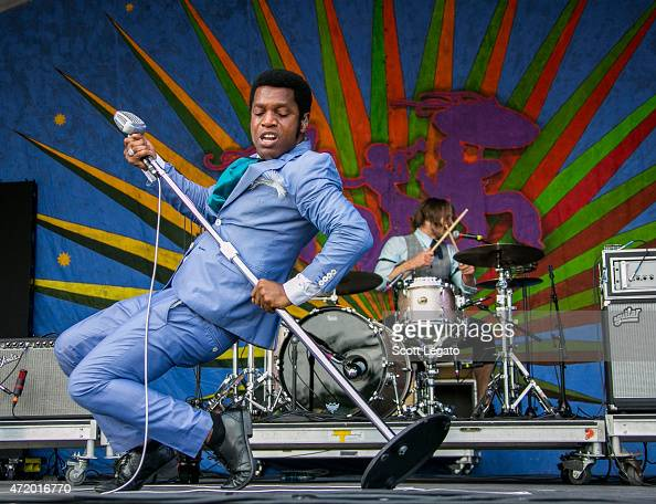 Ty Taylor and Rick Barrio Dill of Vintage Trouble perform during 2015 New Orleans Jazz Heritage Festival Day 6 at Fair Grounds Race Course on May 2...