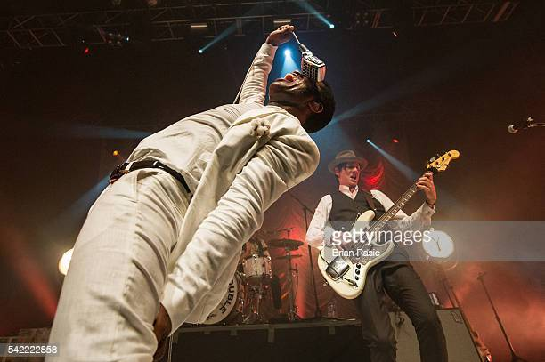 Ty Taylor and Rick Barrio Dill of Vintage Trouble perform on June 22 2016 in London England