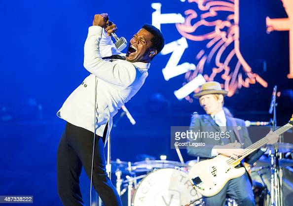 Ty Taylor and Rick Barrio Dill of Vintage Trouble perform on stage during the 'Rock or Bust' World Tour at Ford Field on September 8 2015 in Detroit...