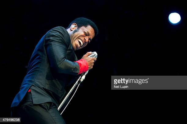 Ty Taylor of Vintage Trouble performs at Wembley Stadium on July 4 2015 in London United Kingdom