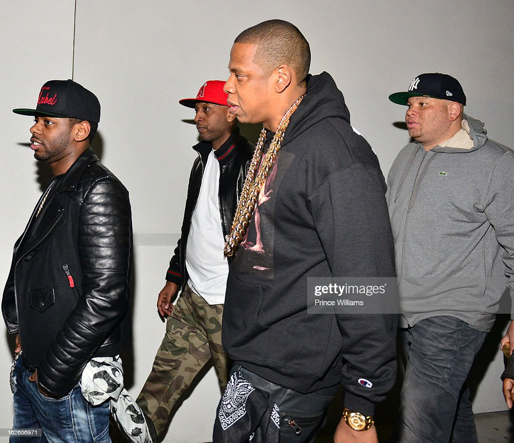 Ty Ty, Alex Gidewon, Jay-Z and Sean Pecas attend the So So Def anniversary party hosted by Jay Z at Compound on February 23, 2013 in Atlanta, Georgia.