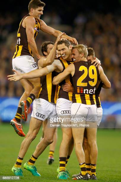 Ty Vickery of the Hawks celebrates a goal during the round nine AFL match between the Collingwood Magpies and the Hawthorn Hawks at Melbourne Cricket...