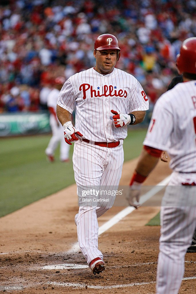 <a gi-track='captionPersonalityLinkClicked' href=/galleries/search?phrase=Ty+Wigginton&family=editorial&specificpeople=211533 ng-click='$event.stopPropagation()'>Ty Wigginton</a> #24 of the Philadelphia Phillies crosses home after hitting a two run home run in the third inning of the game against the Pittsburgh Pirates at Citizens Bank Park on June 26, 2012 in Philadelphia, Pennsylvania.