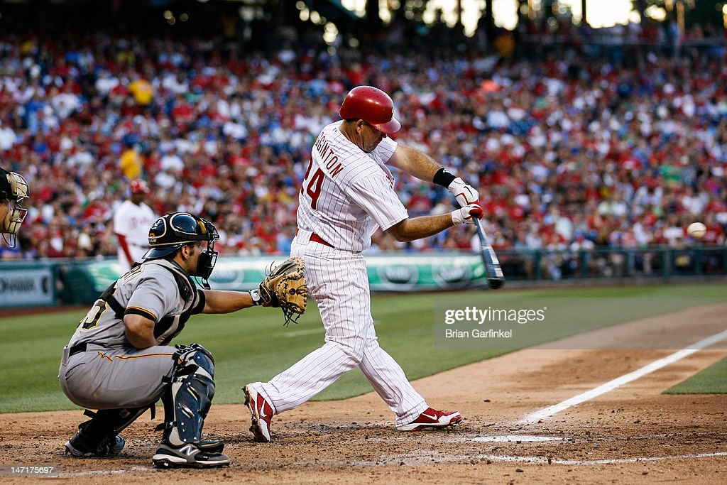 <a gi-track='captionPersonalityLinkClicked' href=/galleries/search?phrase=Ty+Wigginton&family=editorial&specificpeople=211533 ng-click='$event.stopPropagation()'>Ty Wigginton</a> #24 of the Philadelphia Phillies hits a two run home run in the third inning of the game against the Pittsburgh Pirates at Citizens Bank Park on June 26, 2012 in Philadelphia, Pennsylvania.