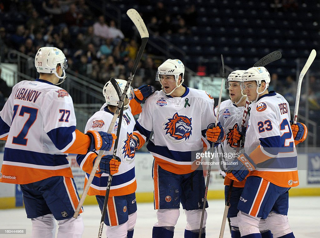 Ty Wishart #6 (C) of the Bridgeport Sound Tigers is congratulated after scoring a goal during the first period of an American Hockey League game against the Providence Bruins on January 31, 2013 at the Webster Bank Arena at Harbor Yard in Bridgeport, Connecticut.