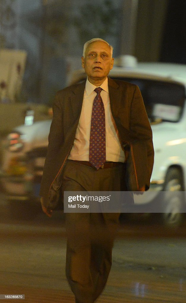 SP Tyagi coming out of CBI office in New Delhi after questioned on ongoing probe into alleged VVIP helicopter deal on Wednesday, March 6,2013.