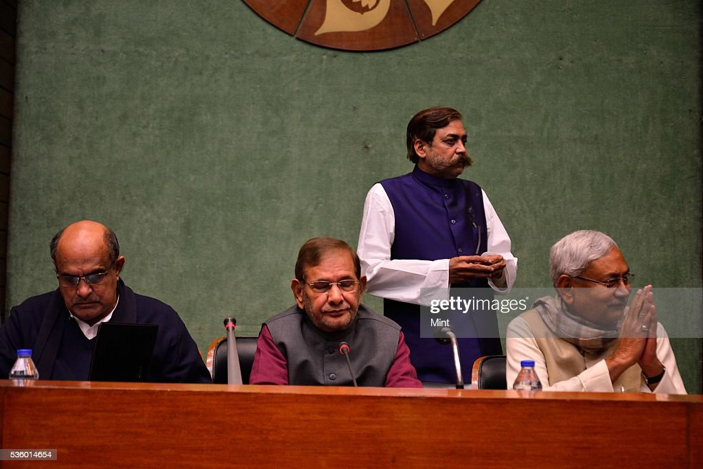 KC Tyagi, Sharad Yadav and Bihar Chief Minister Nitish Kumar attending National Executive Meeting of Janata Dal-United (JD-U) at Parliament Annexe on December 20, 2015 in New Delhi, India.