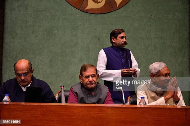 KC Tyagi Sharad Yadav and Bihar Chief Minister Nitish Kumar attending National Executive Meeting of Janata DalUnited at Parliament Annexe on December...