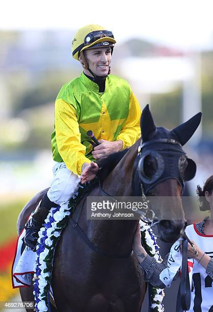 Tye Angland returns on Gust Of Wind after winning race 6 The Australian Oaks during The Championships at Royal Randwick Racecourse on April 11 2015...