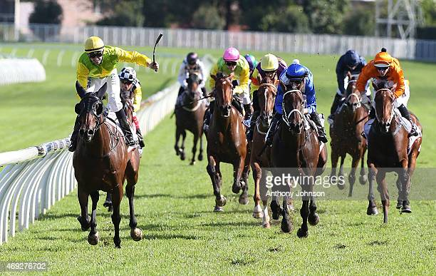 Tye Angland rides Gust Of Wind to win race 6 The Australian Oaks during The Championships at Royal Randwick Racecourse on April 11 2015 in Sydney...