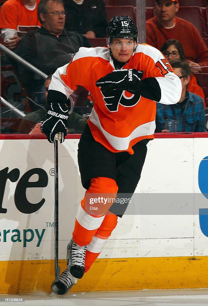 Tye McGinn #15 of the Philadelphia Flyers skates against the Florida Panthers on February 5, 2013 at the Wells Fargo Center in Philadelphia, Pennsylvania.