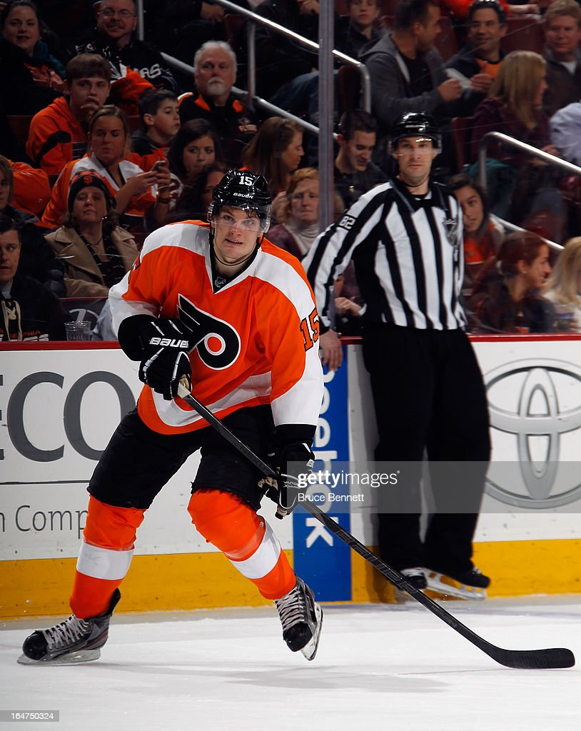 <a gi-track='captionPersonalityLinkClicked' href=/galleries/search?phrase=Tye+McGinn&family=editorial&specificpeople=4604402 ng-click='$event.stopPropagation()'>Tye McGinn</a> #15 of the Philadelphia Flyers skates against the New York Rangers at the Wells Fargo Center on March 26, 2013 in Philadelphia, Pennsylvania.
