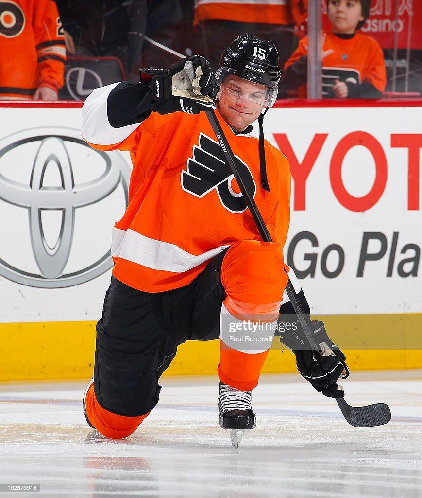 Tye McGinn #15 of the Philadelphia Flyers skates in warmups before an NHL Hockey game against the Toronto Maple Leafs at Wells Fargo Center on February 25, 2013 in Philadelphia, Pennsylvania.