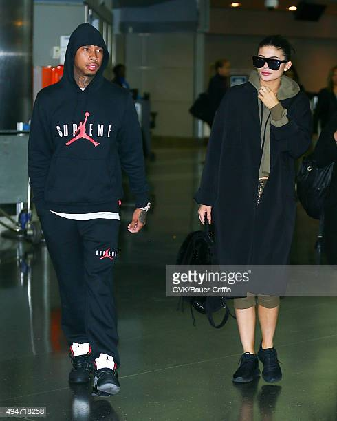 Tyga and Kylie Jenner are seen at JFK on October 28 2015 in New York City