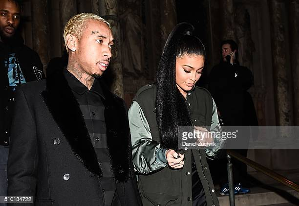 Tyga and Kylie Jenner are seen outside the Alexander Wang show during New York Fashion Week Women's Fall/Winter 2016 on February 13 2016 in New York...