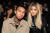 Tyga and Kylie Jenner attend the Alexander Wang Spring 2016 fashion show during New York Fashion Week at Pier 94 on September 12 2015 in New York City