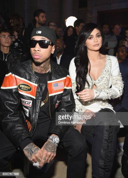Tyga and Kylie Jenner attend the Front Row for the Philipp Plein Fall/Winter 2017/2018 Women's And Men's Fashion Show at The New York Public Library...