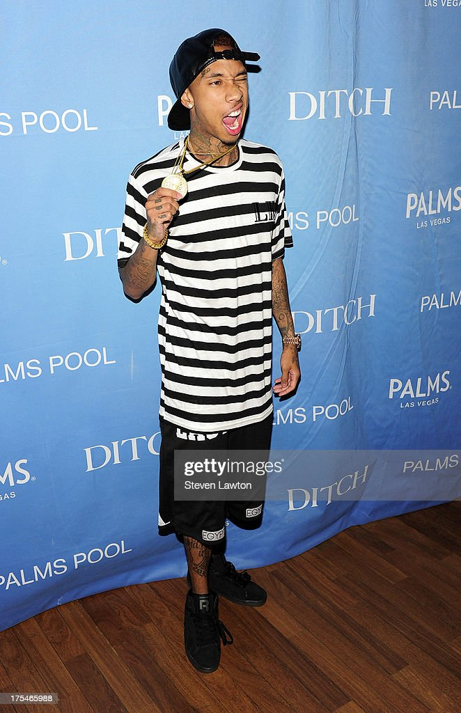Tyga arrives at 'Ditch Saturdays' at the Palms Casino Resort on August 3, 2013 in Las Vegas, Nevada.
