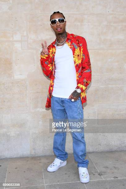 Tyga attends the Louis Vuitton Menswear Spring/Summer 2018 show as part of Paris Fashion Week on June 22 2017 in Paris France