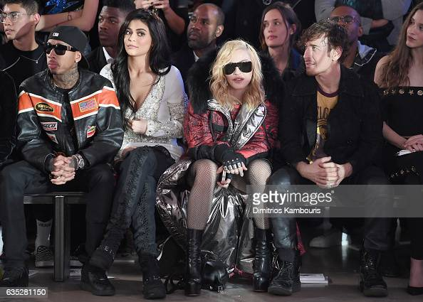 Tyga Kylie Jenner Madonna and Steven Klein attend the Front Row for the Philipp Plein Fall/Winter 2017/2018 Women's And Men's Fashion Show at The New...