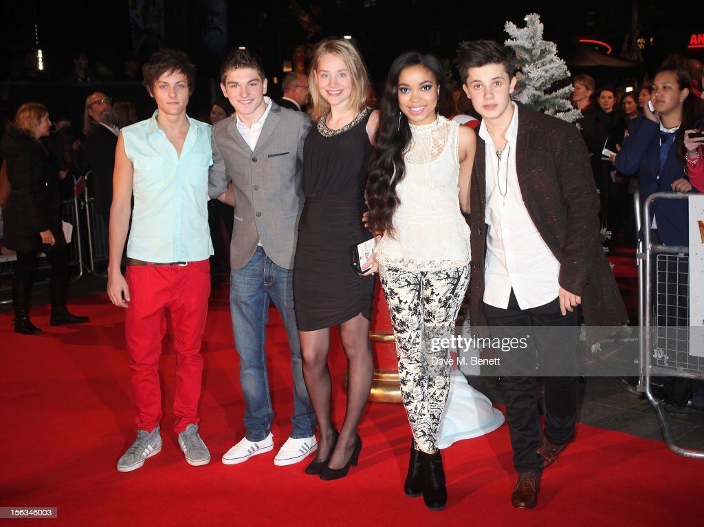 Tyger Honey Drew (L) and <a gi-track='captionPersonalityLinkClicked' href=/galleries/search?phrase=Dionne+Bromfield&family=editorial&specificpeople=6400392 ng-click='$event.stopPropagation()'>Dionne Bromfield</a> (2R) attend the 'Nativity 2: Danger In The Manger' premiere at Empire Leicester Square on November 13, 2012 in London, England.