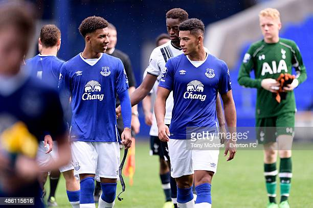 Tyias Browning and Mason Holgate of Everton during the Premier League International Cup match between Everton U21 and Tottenham Hotspur U21 on August...