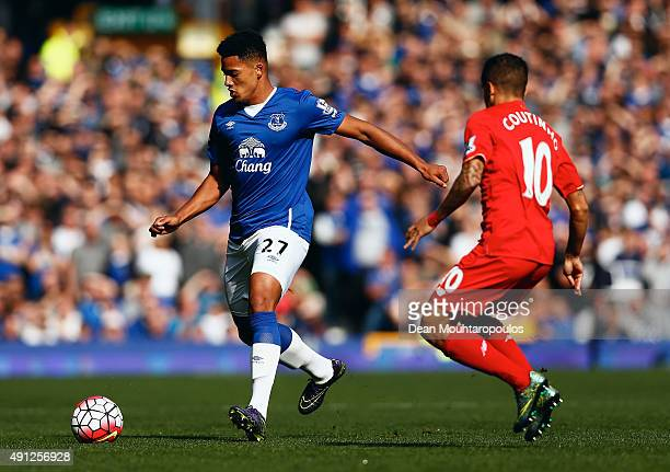 Tyias Browning of Everton and Philippe Coutinho of Liverpool in action during the Barclays Premier League match between Everton and Liverpool at...