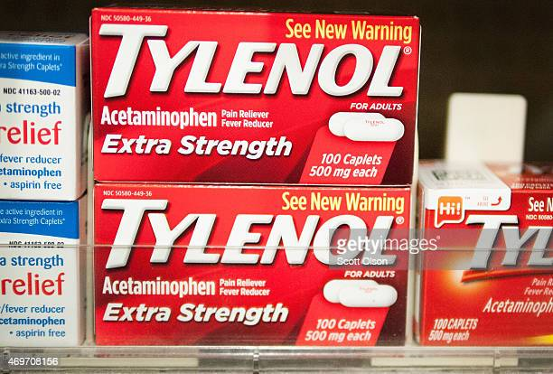 Tylenol which contains acetaminophen is offered for sale at a drug store on April 14 2015 in Chicago Illinois New research has shown that...