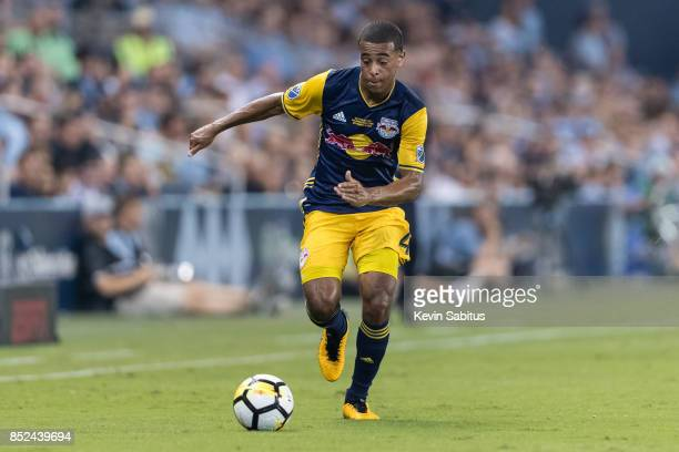 Tyler Adams of New York Red Bulls dribbles down the sideline in the US Open Cup Final match against Sporting Kansas City at Children's Mercy Park on...