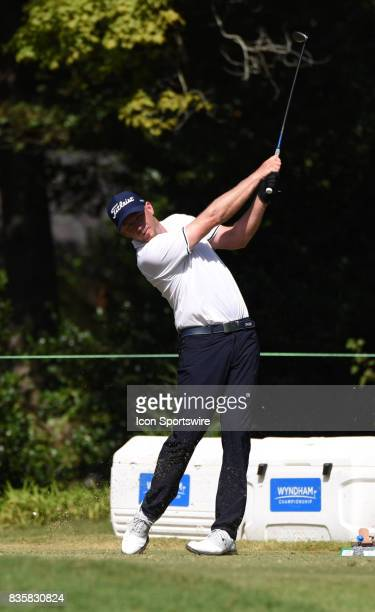 Tyler Aldridge tees off on the 6th hole during the first round of the Wyndham Championship on August 18 2017 at Sedgefield Country Club in Greensboro...