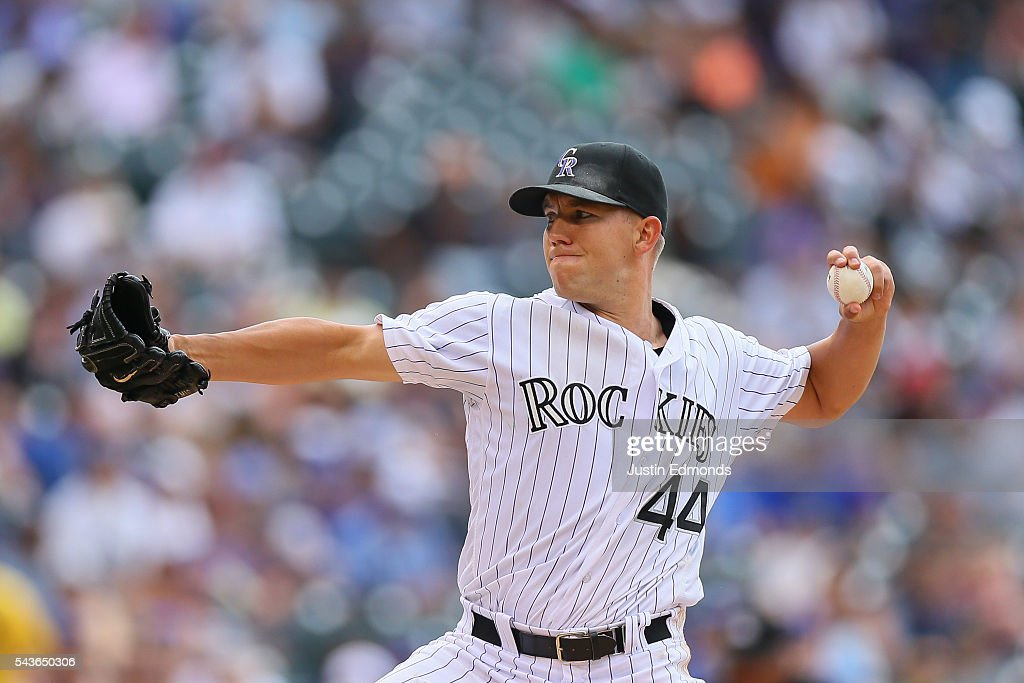Tyler Anderson #44 of the Colorado Rockies delivers to home plate during the sixth inning against the Toronto Blue Jays at Coors Field on June 29, 2016 in Denver, Colorado.
