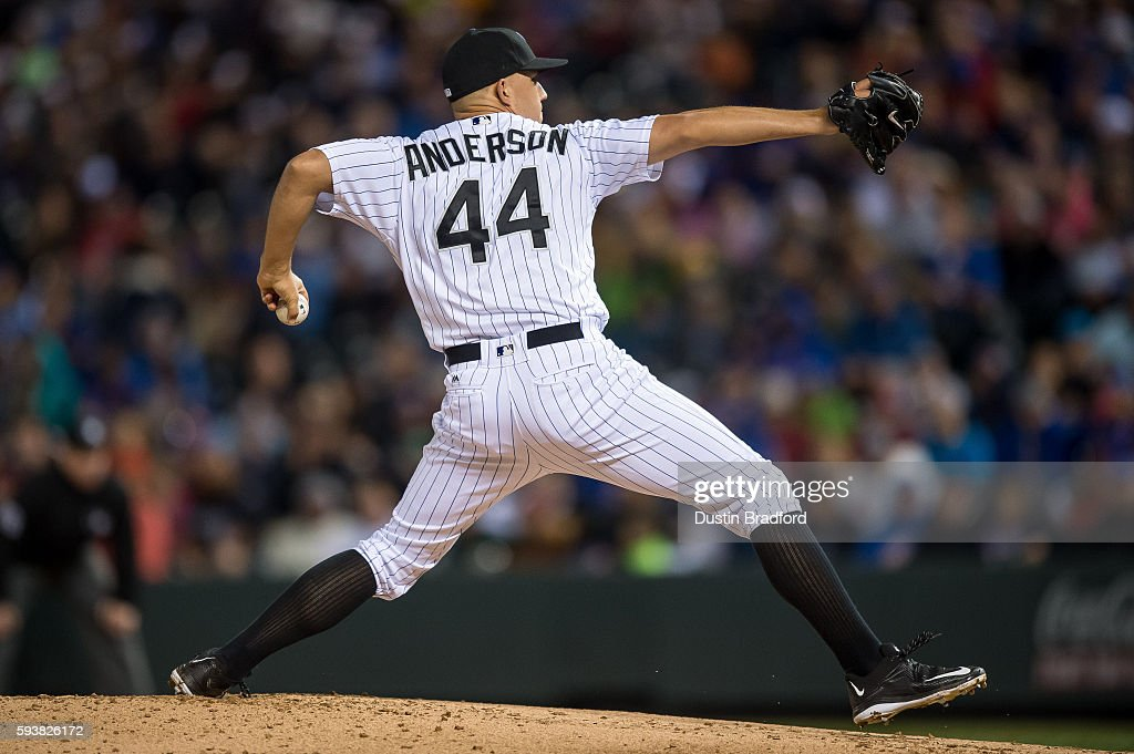 Tyler Anderson #44 of the Colorado Rockies pitches against the Chicago Cubs in the third inning of a game at Coors Field on August 19, 2016 in Denver, Colorado.