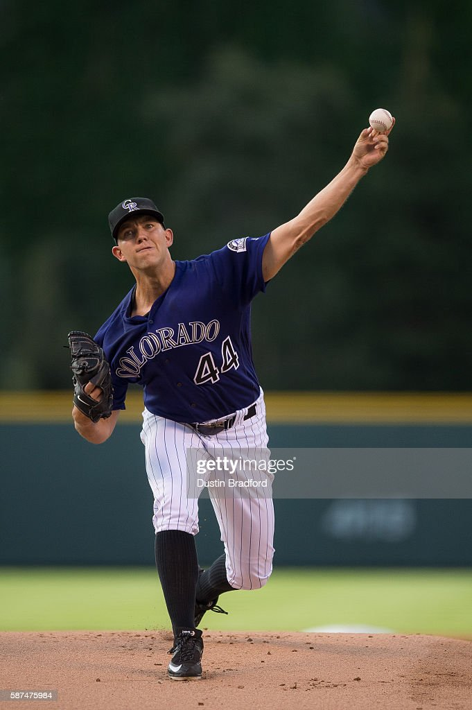 Tyler Anderson #44 of the Colorado Rockies pitches against the Texas Rangers in the first inning of a game at Coors Field on August 8, 2016 in Denver, Colorado.
