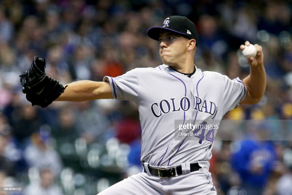 Tyler Anderson #44 of the Colorado Rockies pitches in the first inning against the Milwaukee Brewers at Miller Park on April 4, 2017 in Milwaukee, Wisconsin.