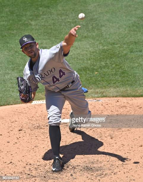 Tyler Anderson of the Colorado Rockies pitches in the game against the Los Angeles Dodgers at Dodger Stadium on June 25 2017 in Los Angeles California