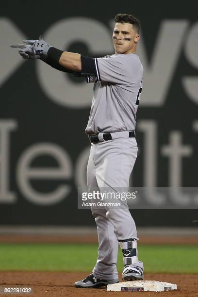 Tyler Austin of the New York Yankees reacts in the eighth inning of a game against the Boston Red Sox at Fenway Park on August 19 2017 in Boston...
