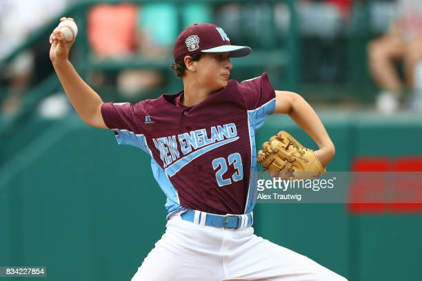 Tyler Bauer of the New England team from Connecticut pitches during Game 2 of the 2017 Little League World Series against the MidAtlantic team from...