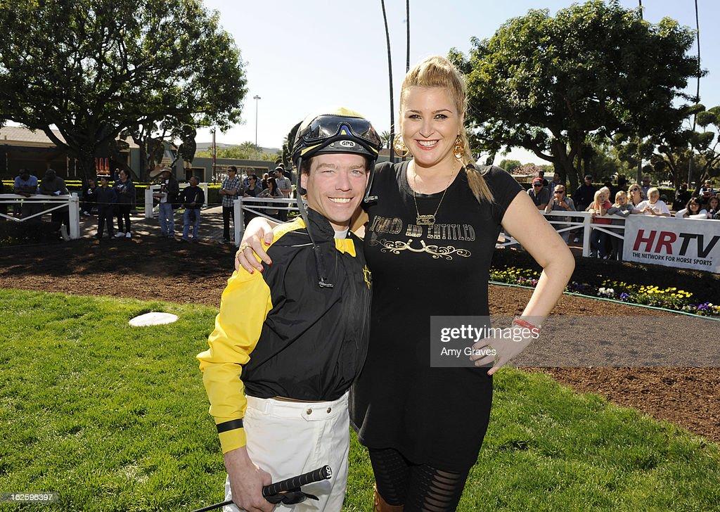 Tyler Baze and Josie Goldberg attend Reality TV Personality Josie Goldberg and her race horse SpoiledandEntitled's race at Santa Anita Park on February 24, 2013 in Arcadia, California.