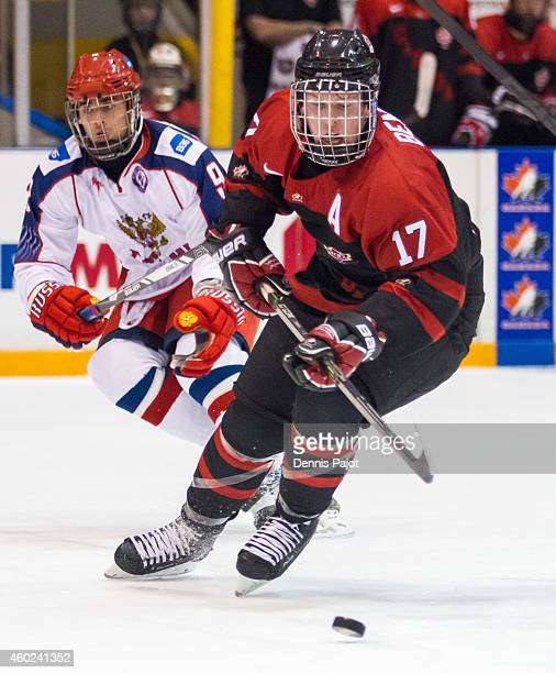Tyler Benson of Canada Black moves the puck against Russia during the World Under17 Hockey Challenge on November 2 2014 at the RBC Centre in Sarnia...