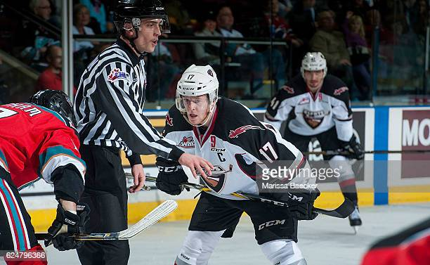 Tyler Benson of the Vancouver Giants lines up for the face off against the Kelowna Rockets on November 18 2016 at Prospera Place in Kelowna British...