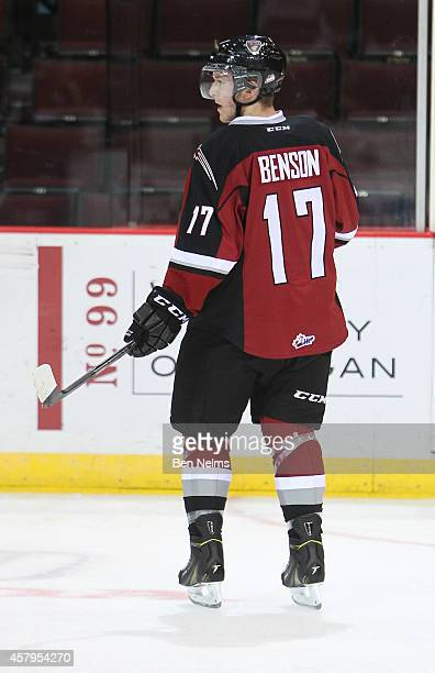 Tyler Benson of the Vancouver Giants skates during warmup prior to facing the Prince George Cougars before their WHL game at the Pacific Coliseum on...