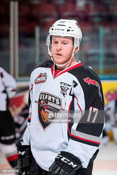 Tyler Benson of Vancouver Giants stands at the bench during warm up against the Kelowna Rockets on November 11 2015 at Prospera Place in Kelowna...
